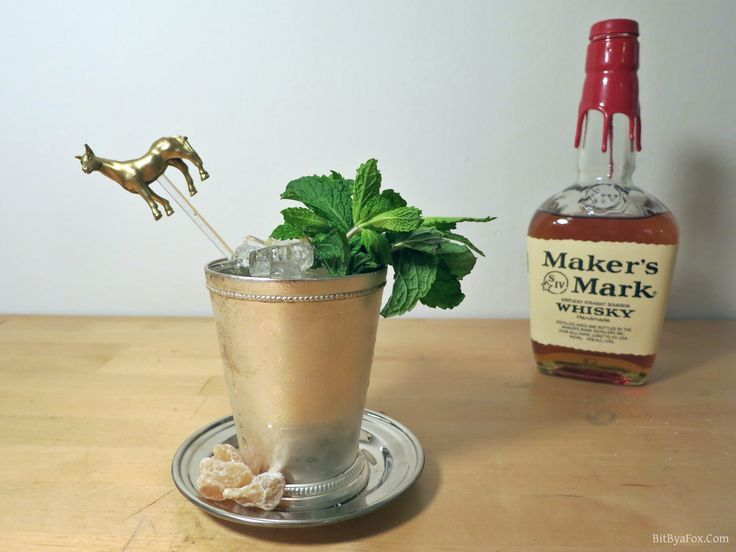 Mango Ginger Mint Julep, by Prairie Rose (Bit by a Fox)  Ingredients: 2 parts Maker's Mark® Bourbon 1 part Ginger Syrup Fresh Mint (to muddle and for garnish) Cubed Mango (to muddle and for garnish) Candied Ginger (for garnish) Ginger Syrup: 1 cup of chopped ginger (no need to peel for this) 1 cup of water 1 cup of sugar   Please re-pin to vote for this Julep. Find full recipe and directions by clicking the pin. #JulepOff