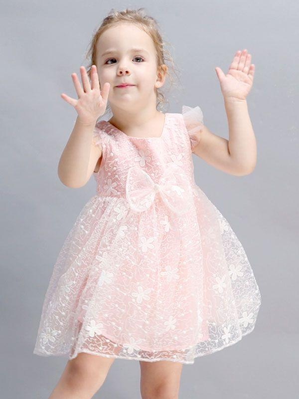 58db7a115262 Cute Bow-knot Lace Comfy Soft Sleeveless Little Girl Mini Dress ...