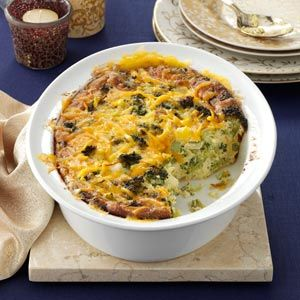 Broccoli Cheddar Casserole Recipe -We're lucky to have fresh fruits and vegetables year-round. I put bountiful Arizona broccoli to great use in this rich side dish. Even those who don't care for broccoli finish off big helpings.                                          — Carol Strickland, Yuma, Arizona