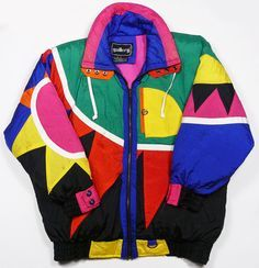 80s ski coat. colorful, bright, abstract design. geometric, Aztec inspired jacket.