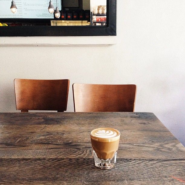 cortado at Kaffe 1668 / photo by Alice Gao Love the look of this wood =D