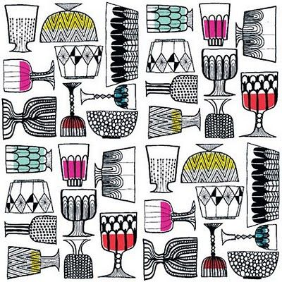 print & pattern: TOP DRAWER 2010 - marimekko - i like how this is mostly back and white with little pops of color