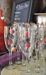 Bellini Bar- freeze berries to keep drinks cold