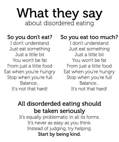 What they say about disorder eating
