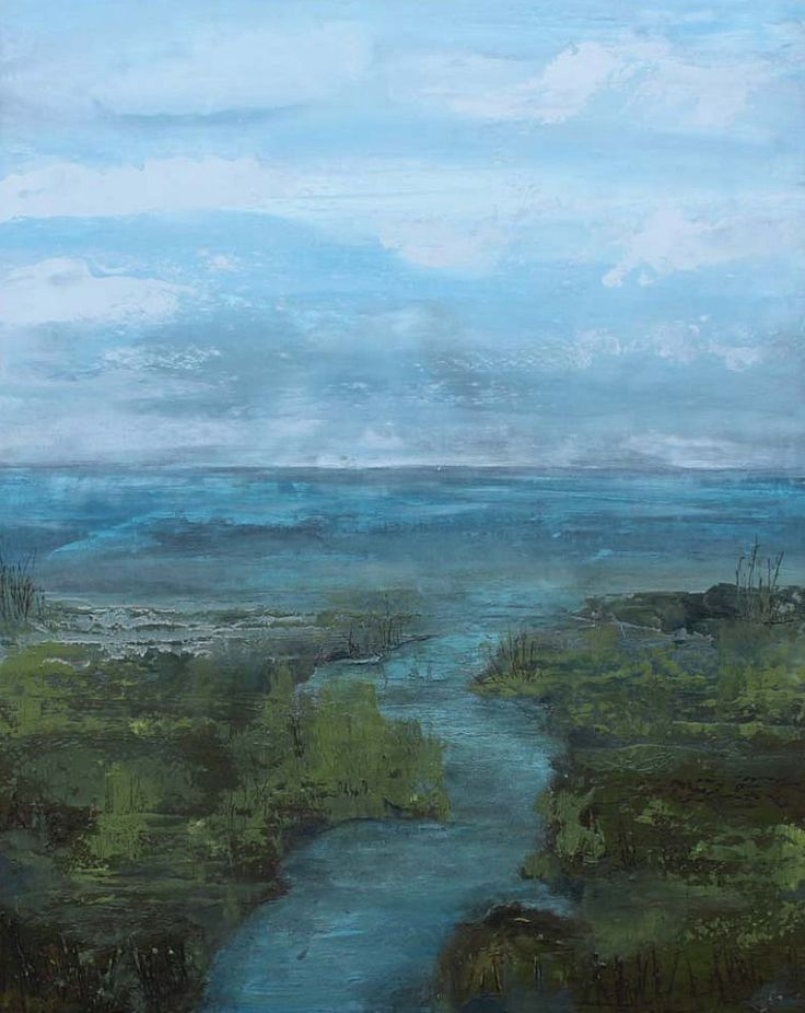 cold wax and oil landscape paintings by kathleen menges