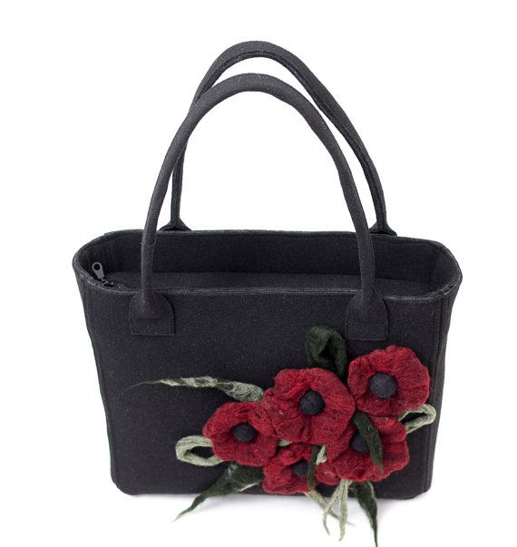 Black stiff felt bag with felted red flowers by Anardeko