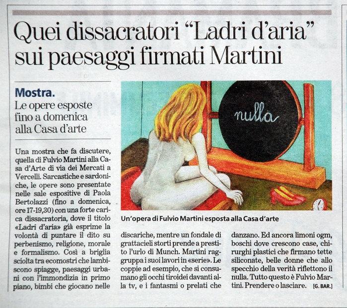 La Stampa  9 Ottobre 2008  Articolo di Giovanni Barberis sulla personale LADRI D'ARIA