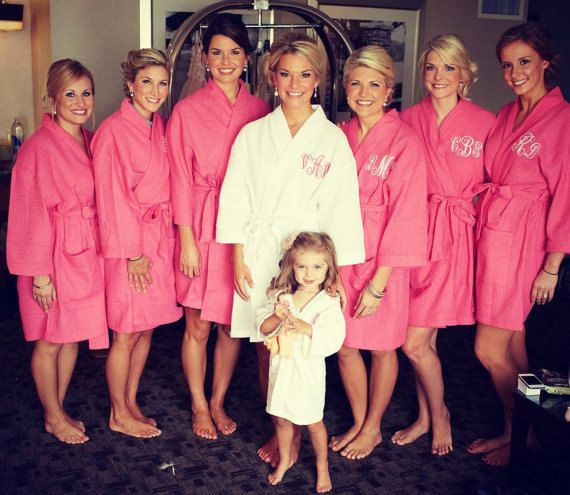 Personalized Monogram Waffle Robes Maid of Honor bridesmaids Bride gifts