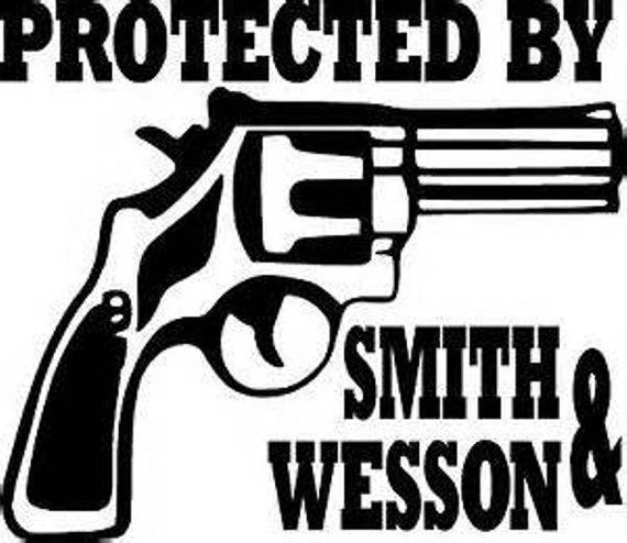 Protected by smith wesson handgun gun vinyl decal sticker ballzbeatz