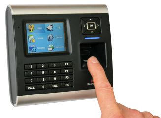 Fingerprint scanning device. Office staffs' attendance, time in and out, are obtained from this Biometric device each time they punch on it, which at any time can be used to process the Salary, Payroll, detailed work report of every employee.