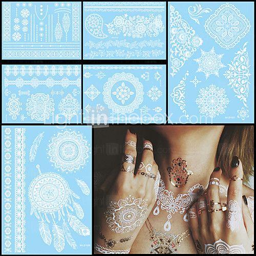 6ks vodotěsný tetování dočasné bílé pro ženy tělo krk umělecké květina písmenem šperky pasty tetování henou nálepka svatby - EUR €5.58 ! ŽHAVÝ výrobek! Žhavý výrobek za neuvěřitelně nízkou cenu je nyní ve výprodeji! Přijďte se podívat i na ostatní podobné výrobky. Získejte skvělé slevy, odměny a mnoho dalšího za každý nákup u nás!