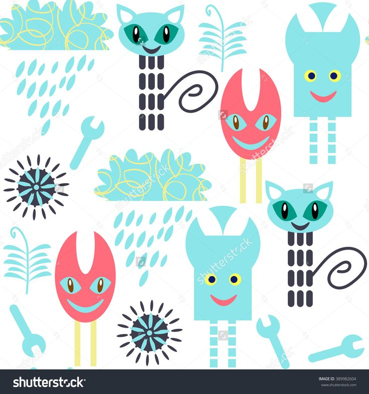 #monsters #seamless #pattern #RF #vector #abstract #nature #fauna #fantasy #vivid #alien #background #cats #clouds