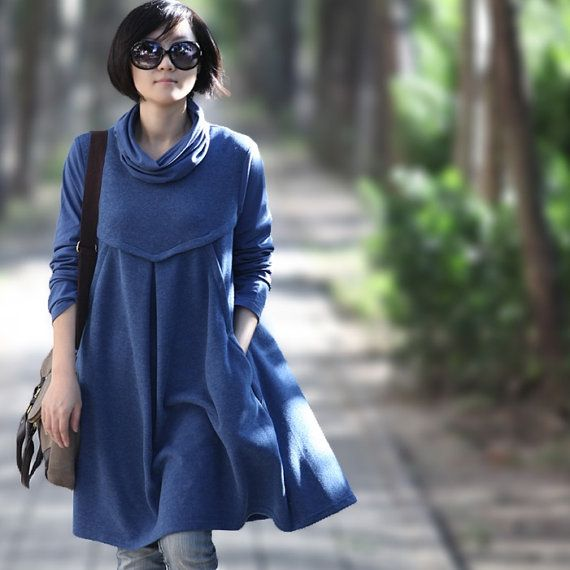 Casual Long sleeved T-shirt Blouse for Autumn and Spring - Blue