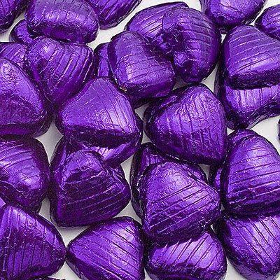 Purple chocolate hearts: Purple Hearts, Chocolates, Foil Chocolate, Wedding Ideas, Purple Passion, Things Purple, Wedding Favours, Purple Foil, Chocolate Hearts
