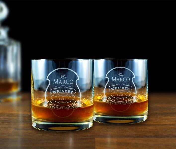 2er Set Kristall Whisky Whiskey Glas mit Gravur von Zeichen der Erinnerung auf DaWanda.com