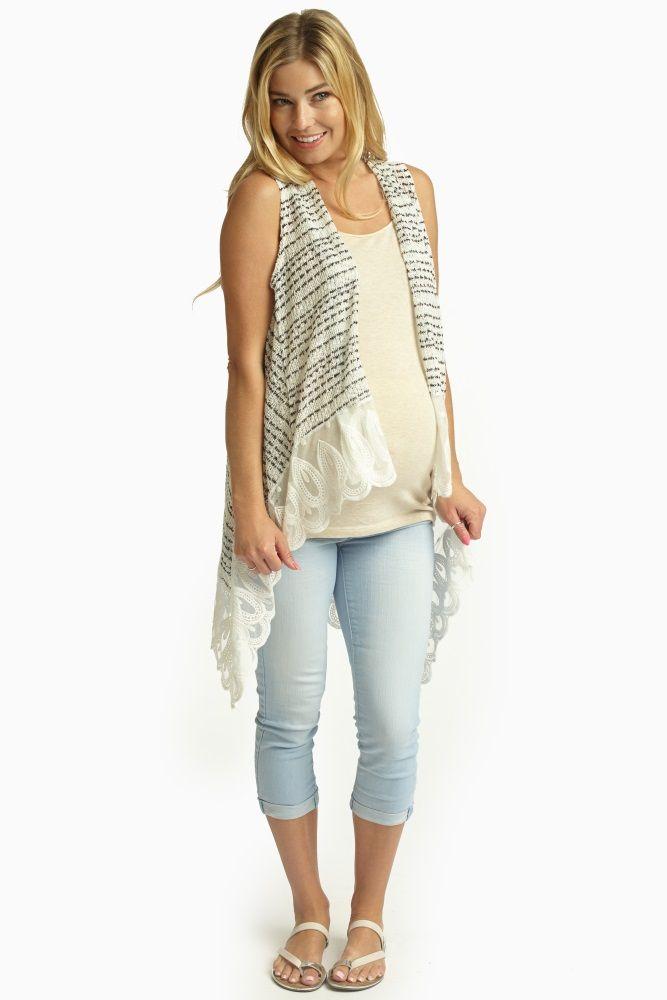 White-Black-Lace-Trim-Knit-Maternity-Vest