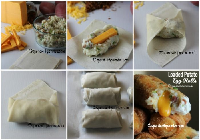 How to roll up loaded mashed potato egg rolls!