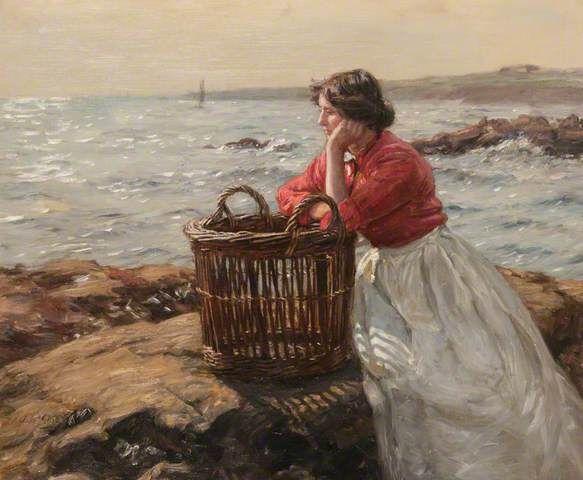 "John McGhie (Scottish, 1867–1952) - ""Waiting"" http://www.pinterest.com/marimonte58/au-bord-de-la-mer/"