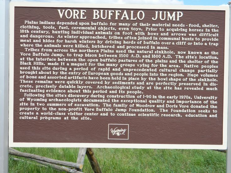 Tribes from across the northern Plains used the natural sinkhole, now known as the Vore Buffalo Jump, to trap bison between 1500 A.D. and 1800 A.D. The site's location at the interface between the open buffalo pastures of the plains and the shelter of the Black Hills, made it a magnet for the many groups vying for the area. native peoples used this site during a period of rapid and unprecedented cultural change partially brought about by the entry of European goods and people into the…