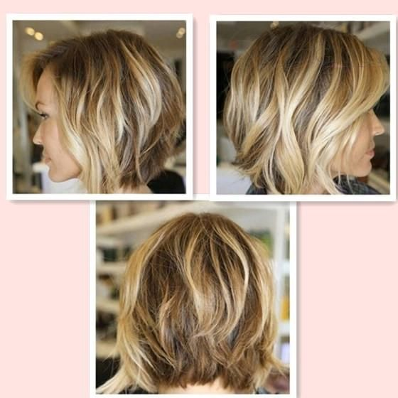New Ombre Color Wave Bob Hairstyle Brown with Blonde Side Part ...