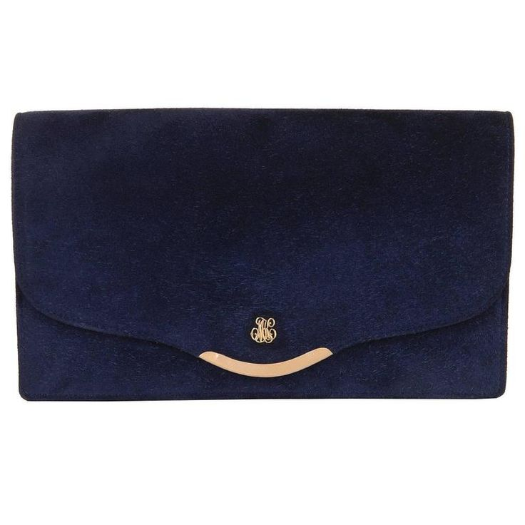 VERY RARE Vintage Hermes Royal Blue Suede Clutch Bag with18 carat Gold Hardware | From a collection of rare vintage clutches at https://www.1stdibs.com/fashion/handbags-purses-bags/clutches/