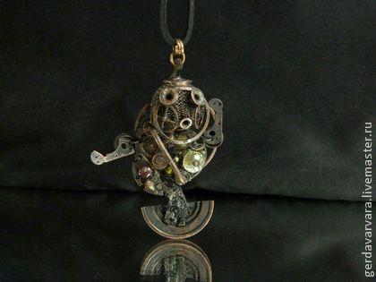 Мини металлическая скульптура  Стимпанк Кулон Связь с Сатурном 3 - стимпанк,купить стимпанк,стимпанк кулон