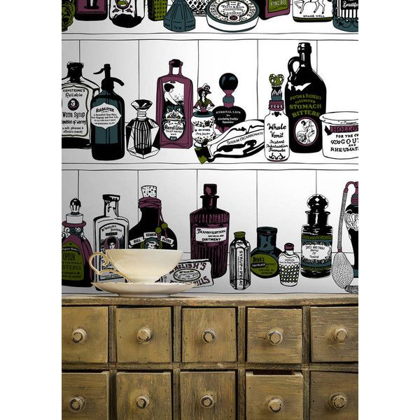 Dupenny Potions Wallpaper ($6.42) ❤ liked on Polyvore featuring home, home decor, wallpaper, vintage home accessories, vintage wallpaper and vintage home decor