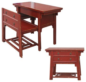 Four Hands - Chinese Desk With Hidden Stool-Red - Like a look inside the Forbidden City, this piece has a secret. It's an antique-inspired, ...