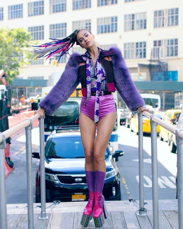 """""""I think it's time I stopped the show…"""" @irinashayk brings the city to a halt in @marcjacobs micro jean shorts and fur-sleeved bomber. #freedomNYC Director: @gvsgvs Fashion Editor: @jordenbickham"""