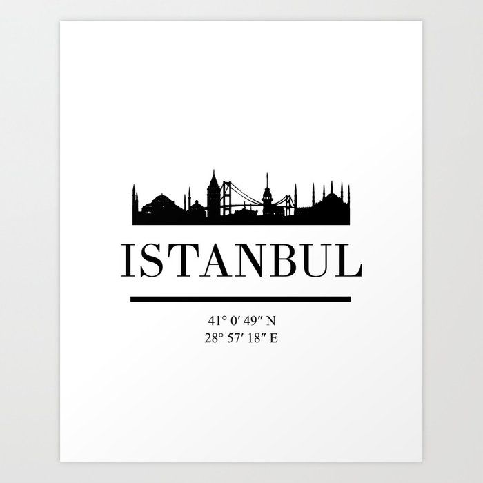 ISTANBUL TURKEY BLACK SILHOUETTE SKYLINE ART