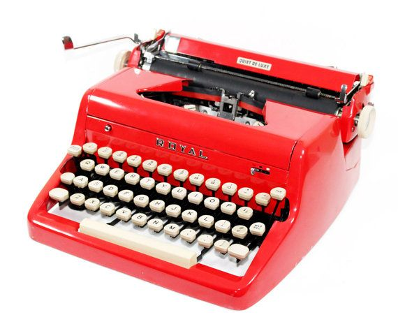 Vintage Royal Quiet DeLuxe Typewriter: Cherry Red