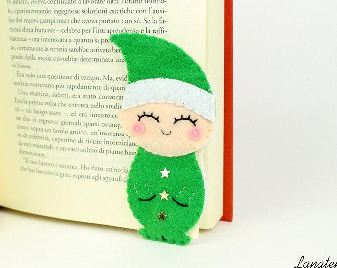 Elfo segnalibro ad angolo, regalo di Natale, aiutante di Babbo Natale, segnalibro in feltro, elfo verde, regalo per lei, folletto in feltro