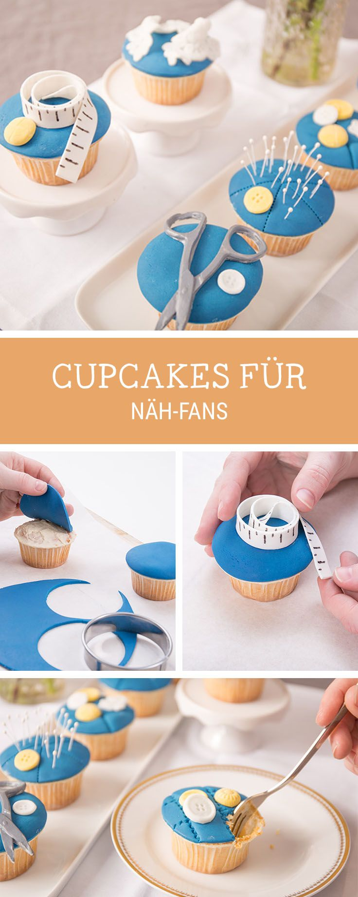 Rezeptidee: Cupcakes dekorieren für Nähfans / how to decorate cupcakes with sewing materials via DaWanda.com