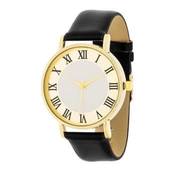 Gold Classic Watch With Black Leather Strap