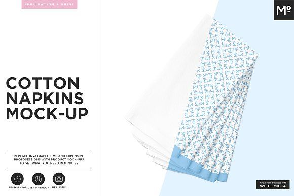 Cotton Napkin Mock-up by Mocca2Go/mesmeriseme on @creativemarket