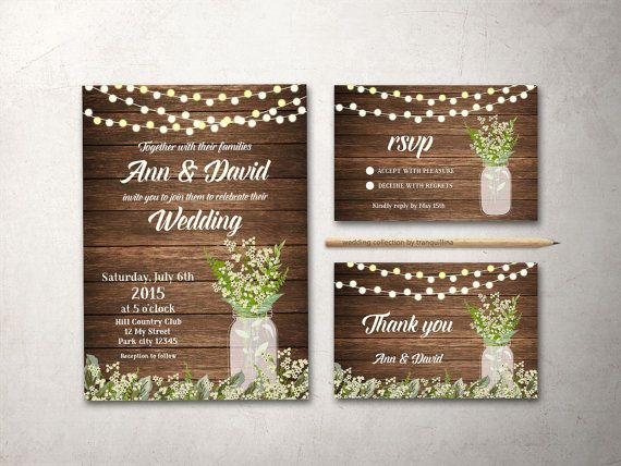 Rustic Wedding Invitation Printable Country by tranquillina