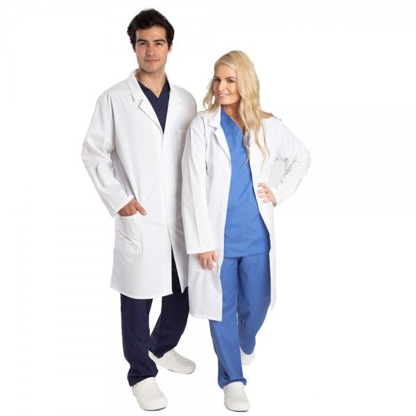 """Budget Unisex White Lab Coat. The Budget unisex white lab coat is a great value basic white coat. This doctors coat has a classic cut, with a four-button closure. This doctors white coat has three pockets for all your bits and pieces: two front patch pockets and one left chest pocket with a pen pocket. A small size white lab coat measures 39"""" long. The Budget white lab coat is made from 33% cotton and 66% polyester. £19.99  #labcoat"""