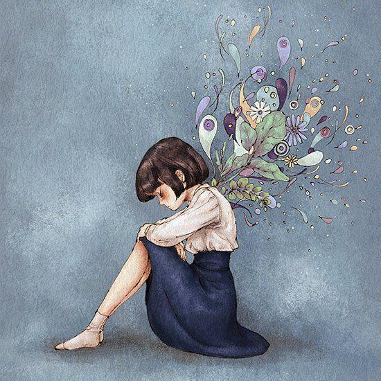 가만히 눈을 감으면 머리속에서 피어오르는 생각의 잔상들. When I closed my eyes, I see after images of thoughts in the head.  #illust #illustration #girl #drawing #sketch #aeppol #thought #meditation  #일러스트 #일러스트레이션 #생각 #소녀 #애뽈 #눈을감으면
