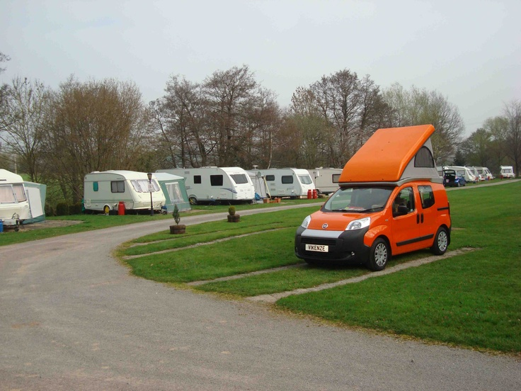 Wheelhome Vikenze micro-camper at Glen Trothy campsite, Monmouth at the start of the Offa's Dyke tour