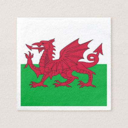 Patriotic paper napkins with Wales flag - paper gifts presents gift idea customize