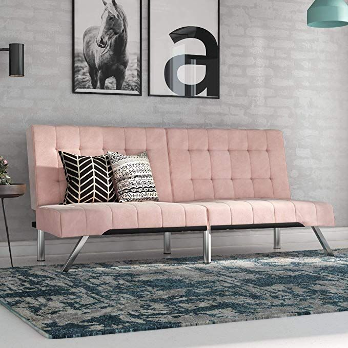 Amazon Com Dhp Emily Futon Sofa Bed Modern Convertible Couch With Chrome Legs Quickly Converts Into A Bed