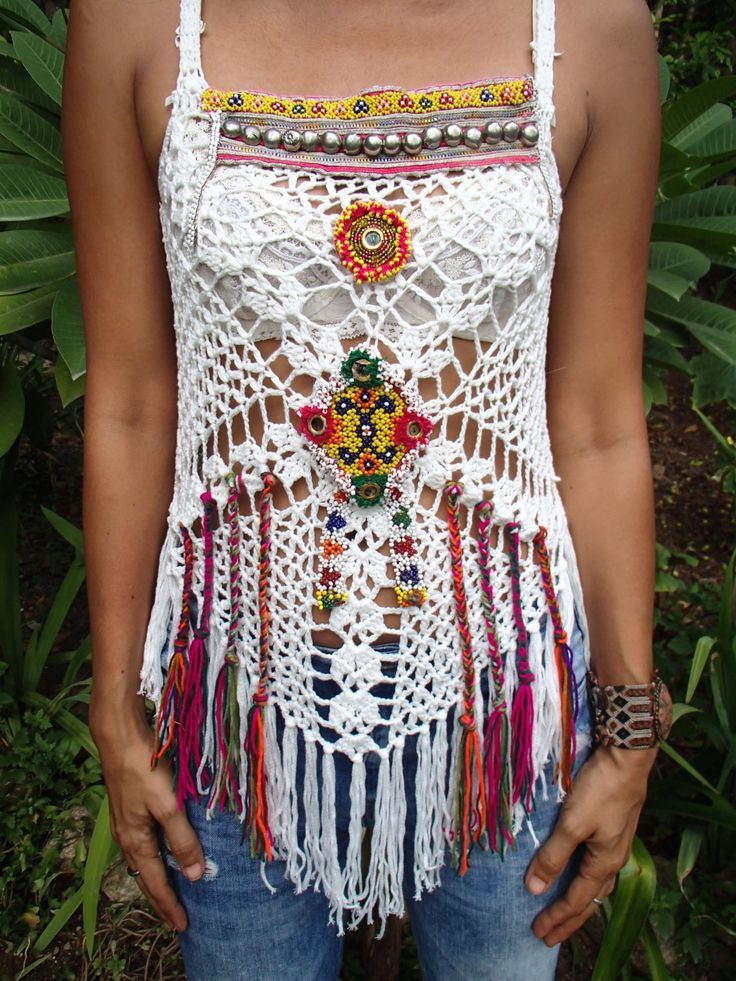 White Handmade Crochet Top with Mirror and Vintage Jewelry, Patches and Fringe. Hippie/Boho style Festival top. One of a kind. by SpellMaya on Etsy