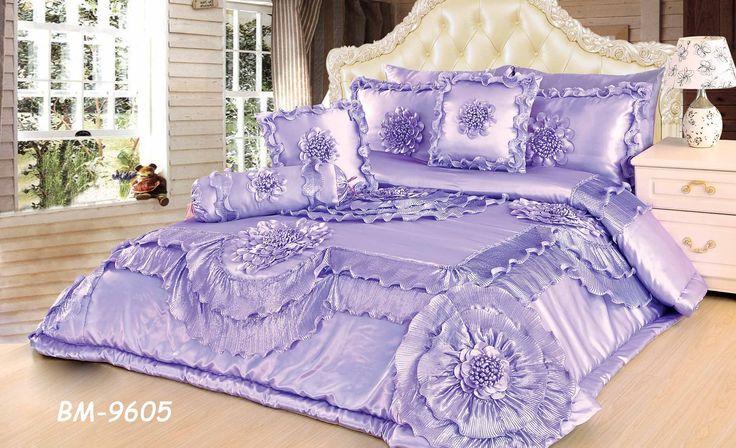 Tache 6 Piece Fancy Floral Faux Satin Sateen Solid Purple