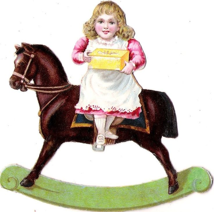 Oblaten Glanzbild scrap die cut chromo Kind child Schaukelpferd rocking horse