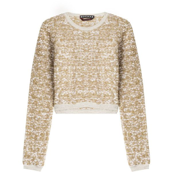 Rochas Woven Boucle Cropped Pullover (£260) ❤ liked on Polyvore featuring tops, sweaters, gold, crop top, white top, white sweater, cropped sweater i boucle sweater