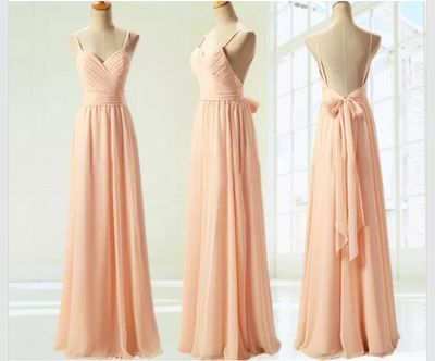 Blush Pink Chiffon Bridesmaid Gown,Backless Spaghetti Strap Prom Dresses,Simple…
