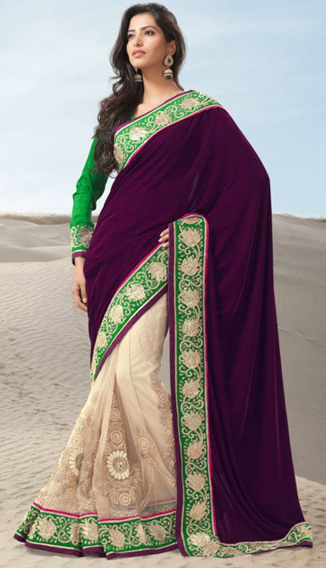 Cream Color Net And Georgatte Designer Saree TJSP2707. Sale : $209.95