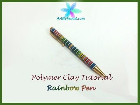 ▶ Polymer Clay Tutorial - Striped Rainbow Pen - Lesson #21 - YouTube