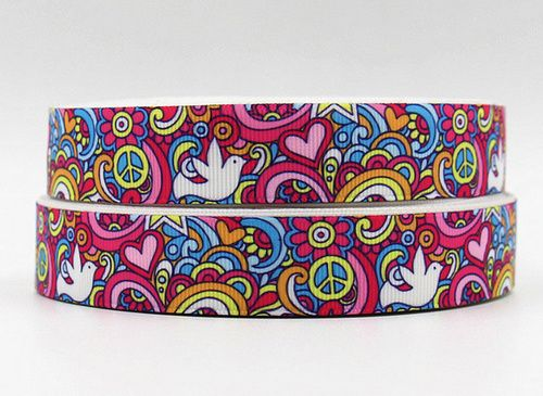 "Groovy Pink Peace Sign Symbol White Dove 7/8"""" Lovely Grosgrain Ribbon"
