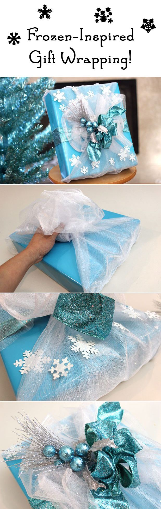 Fans of Frozen are just going to LOVE their gift wrapped with the Disney-inspired decor.  Glittery blue accents and snowflakes resemble Elsa's dress! http://www.ehow.com/how_12340338_frozeninspired-gift-wrap.html?utm_source=pinterest&utm_medium=fanpage&utm_content=inline